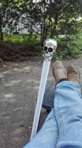 Blindenstock mit Totenkopf